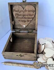 Guest Book Alternative Wedding Personalised 80 Hearts Guestbook Rustic Drop Box