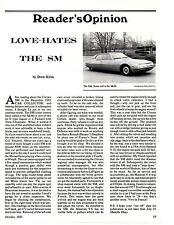 1983 CITROEN SM  ~  NICE ORIGINAL READERS OPINION ARTICLE / AD