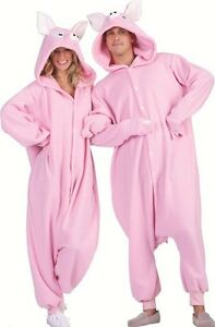 PENELOPE PINK PIG PIGGIE HOG BOAR ADULT COSTUME ANIMAL PAJAMAS JUMPSUIT MENS