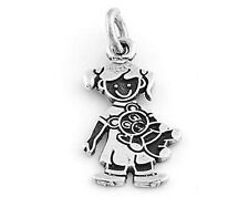 """STERLING SILVER """"GIRL WITH TEDDY BEAR"""" SOLID CHARM"""