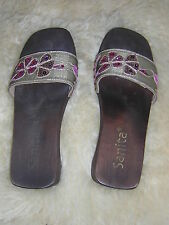 SANITA Wooden Sandals, Size 40 9-9.5 UK. Gold flowers with sequins, Gorgeous!