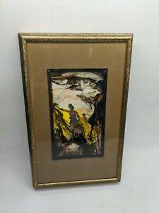 1972 MID-CENTURY MODERN ORIGINAL SIGNED PAINTING ART ENAMEL PICTURE FRAME 14X9