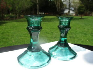 ESTATE INDIANA GLASS CANDLE HOLDERS STEIGEL SPRUCE GREEN MARINE GREEN
