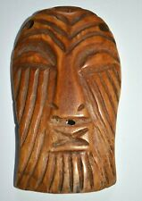 Rare Antique African Songye Tribe Hand Carved Cow Bone Mask Pendant Congo Africa
