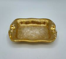 New ListingVintage Stouffer Fine China Porcelain Gold Floral Rectangle Ashtray