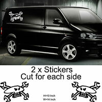 2X LARGE GUY MARTIN SKULL stickers decals TRANSPORTER SURF T4 T5 VAN VINYL