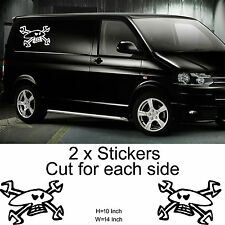 2x Large Guy Martin Skull Stickers Decals TRANSPORTER Surf T4 T5 Van Vinyl