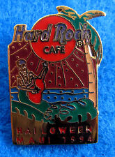 MAUI HAWAII *SPELLING ERROR* 1994 HALLOWEEN SKELETON GUITAR Hard Rock Cafe PIN