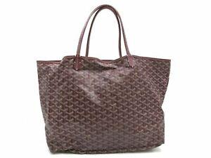 Authentic GOYARD Saint Louis GM Tote Bag Purple PVC Leather With Pouch 93416