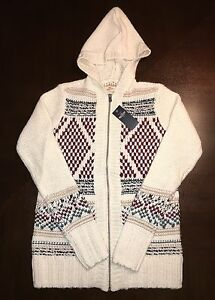 Beautiful Girls Juniors Patterned Zip Sweater Hollister Size S Small Crm NEW $70