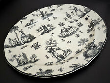 "12"" Oval Serving Platter - Black/Cream TOILE DE JOUY - WOOD & SONS, England"