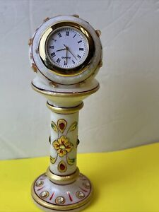 White Marble Painted Hand Painted Decorative Table Pedestal Clock Watch New Bat