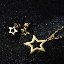 HUCHE Stars Gold Filled Jewelry SET Stainless Steel Lady Necklace Earrings Studs