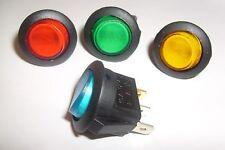 Round Rocker Switch  on off  illuminated  car dash 16A  12 volt  DC  SPST  x 4