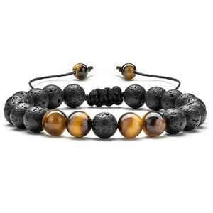 Adjustable Lava Tiger Eye Bracelet Essential Oil Anxiety Stress Ladies Men Gift