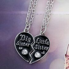2Pcs Best Friend Jewelry Big Sister Little Sister Broken Heart Pendant Necklace