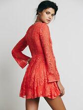 Free People Reign Over Me Orange Lace Mini Skater Dress Sz 4 S Rare HTF