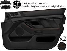Brown Stitch 2X Front Full porte carte en cuir couvre Fits BMW 5 Series E39 95-03