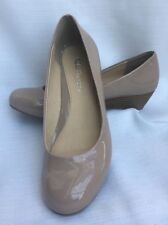 """Shoes CL CHINESE LAUNDRY MARCIE 1.5"""" Wedge Round Toe TAN NUDE Patent Leather 8 M"""