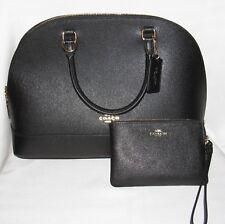 Coach Large Sierra Satchel Bag Crossbody Purse Wallet Set Black Leather NEW $470