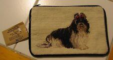 BEAUTIFUL HANDCRAFTED NEEDLEPOINT SHIH TZU DOG SOFT COSMETIC CASE- BRAND NEW!