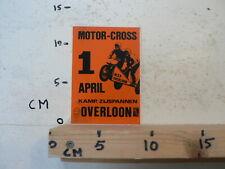 STICKER,DECAL OVERLOON MOTOR-CROSS 1 APRIL KAMP. ZIJSPANNEN SIDECAR MX CROSS