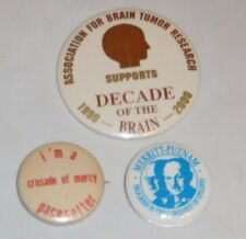 vintage lot of 3 Medical Lapel Buttons Pins Epilepsy Brain tumor