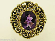 9ct SOLID Gold NATURAL Amethyst Cocktail Ring Large,also in Garnet,Topaz,Citrine
