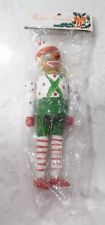 "Vtg 7"" Inarco Wood Jointed Clown Hand Painted Ornament Chenille Hair Taiwan NEW"