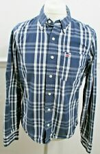 Hollister Mens XL Blue & White Flannel 100% Cotton Shirt Excellent Used Perfect