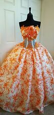 SAMPLE GOWN - Ivory Orange Silk Cherry Blossom Lace Embroidered Wedding Gown
