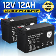 Pair 12ah AGM Battery Dual Solar Power 12v Amp Lead Acid SLA Deep Cycle Battery