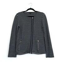 The White Company Size Large Navy White Stripe Asymmetric Zip Jacket Zip Pockets