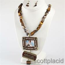 Cowgirl charm pendant brown stone gold chunky earring necklace set costume bib