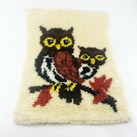 Vintage Owl Latch Hook Wall Art Hanging Completed 1970s Groovy Retro Owls Decor
