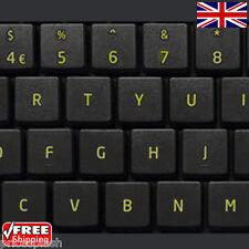 Pegatinas teclado negro de reemplazo de Reino Unido Inglés y amarillo letras Portátil Notebook