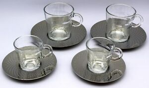 Nespresso View Kollektion 2x Espresso & 2x Lungo Tassen, Glas mit Untertassen