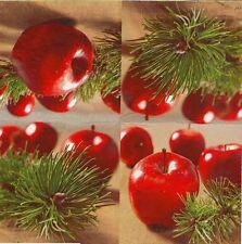 2 Serviettes en papier Pomme Rouge Noël Sapin Paper Napkins Christmas Apple