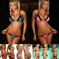 Womens Sexy Lace Bikini Set Swimsuit Thong Strap Bathing Suit Swimwear Beachwear
