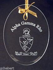 Alpha Gamma Rho, ΑΓΡ,  Name & Crest Ornament/Sun Catcher Beveled Oval Crystal