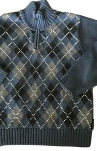Calvin Klein Boys Size 6 Steel Blue Argyle Sweater, Mock Zip Neck #676