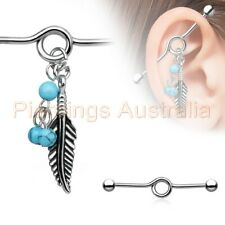 Industrial Barbell Ear Ring Bar 14G 35mm Turquoise Bead Feather Dangle