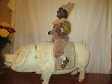 "30"" Long, 26"" Tall Nodding Clockwork Clown Riding Nodding Clockwork Pig"