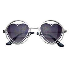 970ef685e6 Womens Round Metal Heart Shape Hippie Circle Sunglasses Silver