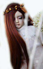 1/3 8-9-10 Bjd Pullip Doll Long Wig Hair Red Brown Special Iron Perm Straight Ap