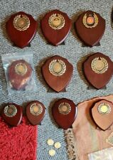 10x Wooden Shield Plaque Triumph Trophy Shield Lot with 1st, 2nd & 3rd place