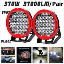 2x 9inch 185W 37LED Round Work Light Spot Flood Driving Head Lamp Off-Road Truck