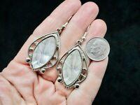 Vintage Silver Tone Contemporary MOP Dangle Pierced Earrings