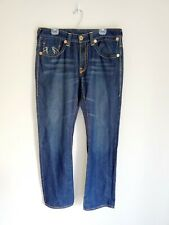 True Religion Brand Jeans Joey Super T Men Size 36X34 Blue Drk Wash Straight Leg