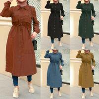 Womens Long Sleeve Collared Button Down Tunic Abaya Midi Shirt Dress Tops Blouse